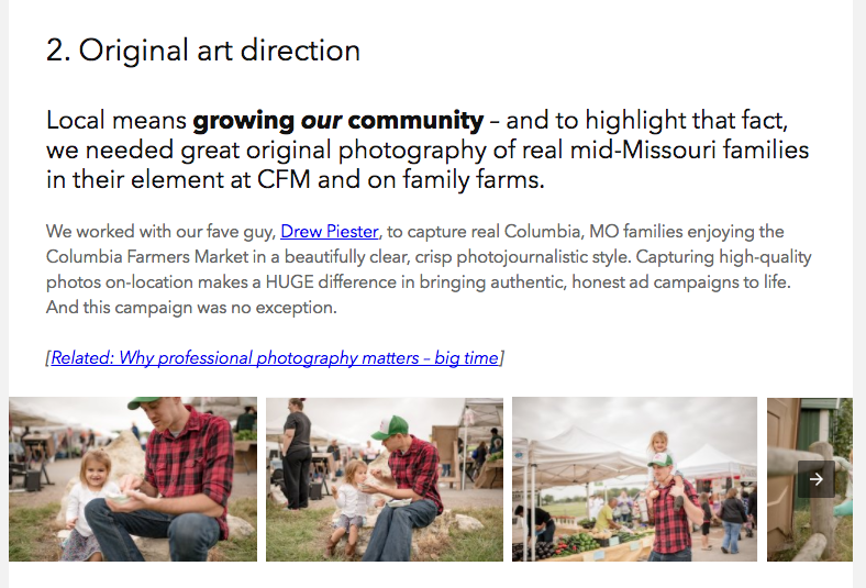 Our blog post on a recent advertising campaign displayed examples of original photography in a nice grid-style gallery – but the AMP version of the post displays the photos in a barebones slideshow for speed.