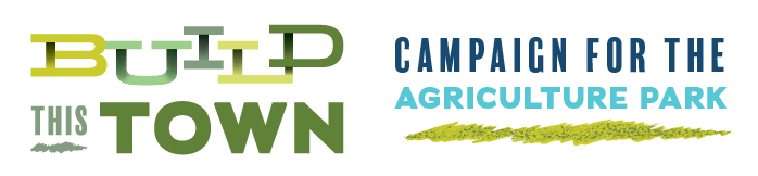 Logo design for the Build this Town Campaign for the Agriculture Park in Columbia, MO | Hoot Design Co.