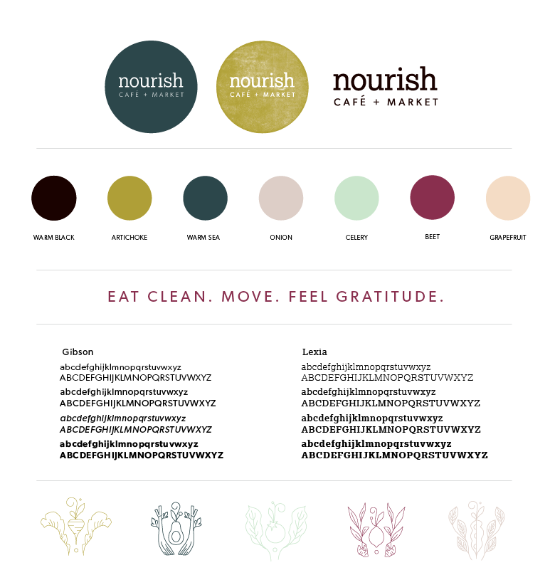Brand board for Nourish Cafe and Market in Columbia, MO | Hoot Design Co.