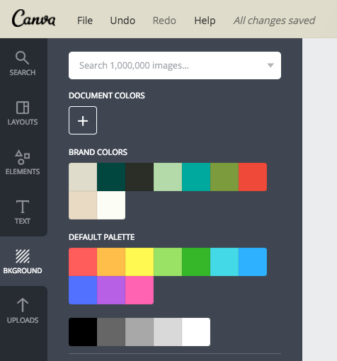 Background color: Make sure you choose colors from the BRAND COLORS section!