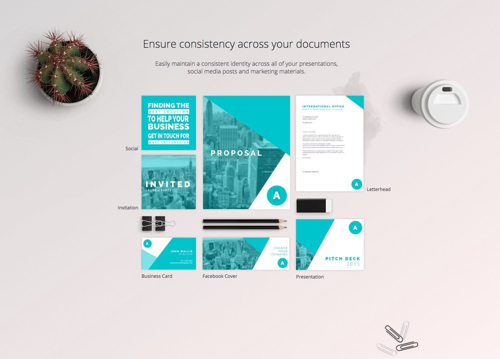 Canva for Work's example of maintaining brand consistency using your own fonts, colors, and assets – image via  Canva for Work