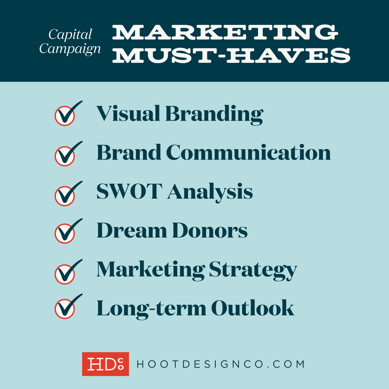 Super helpful checklist on what you need to create a successful capital campaign marketing plan – click through and read for more detail! | Hoot Design Co.