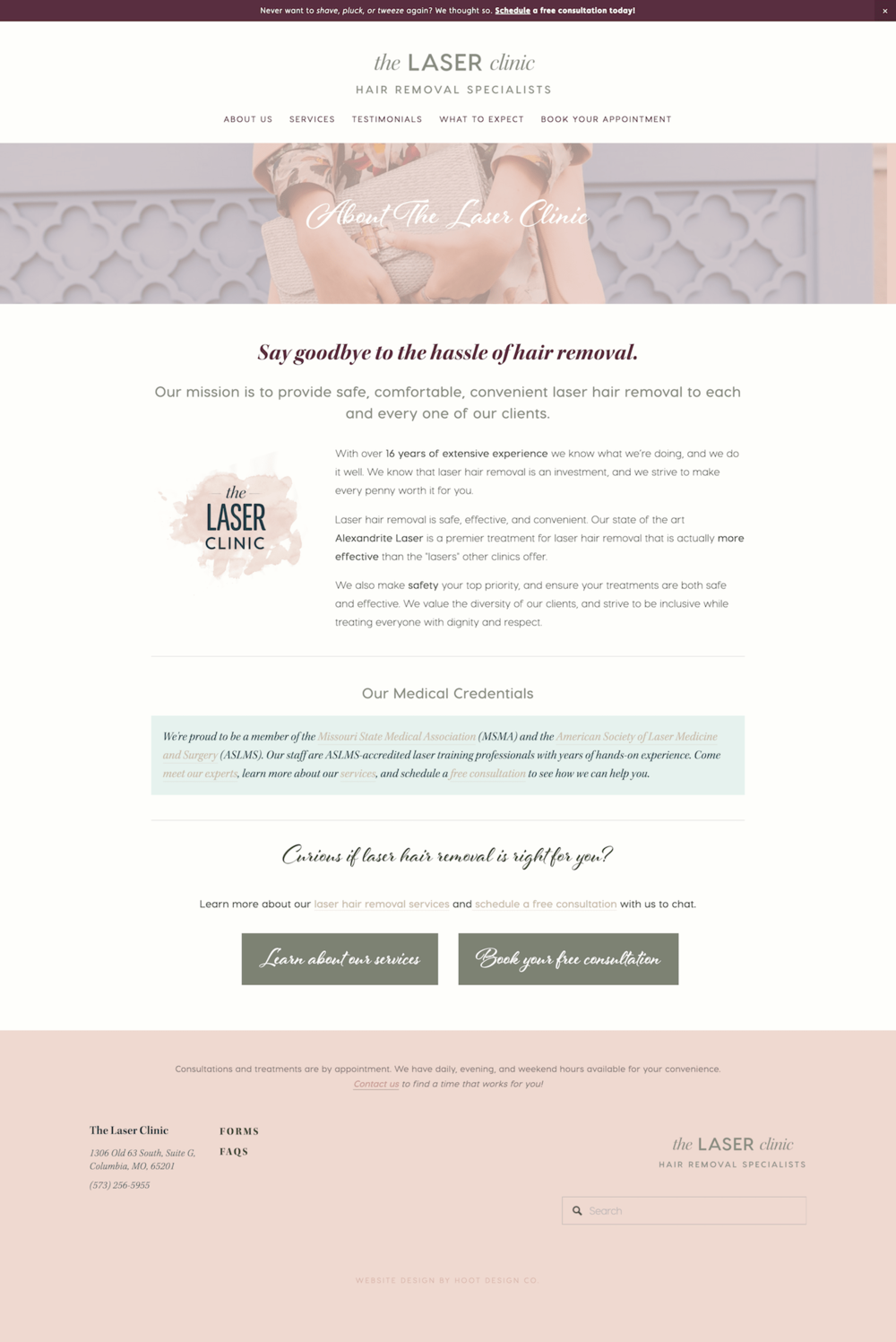 Squarespace in Columbia, MO – AFTER we redid the laser clinic's site