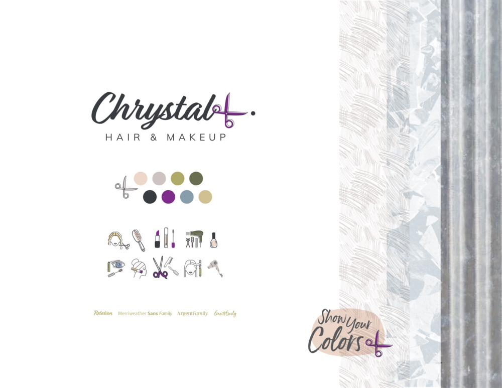 The final Chrystal L. Hair & Makeup brand board