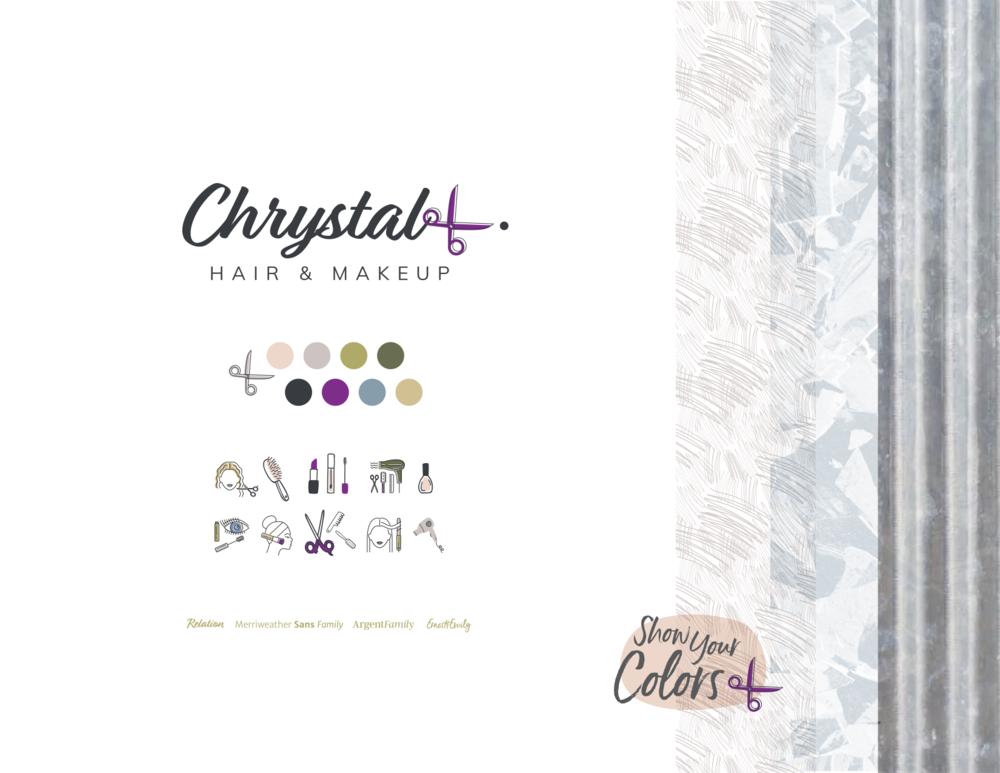 The final Chrystal L. Hair & Makeup brand board