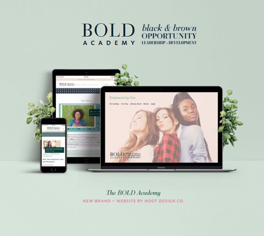 Website design fro the BOLD Academy | Hoot Design Co.