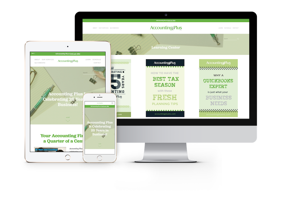 Website design and development in columbia, mO for accounting plus | Hoot Design Co.