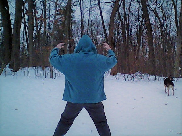 Travis practicing Qigong in January. 20 degrees F.