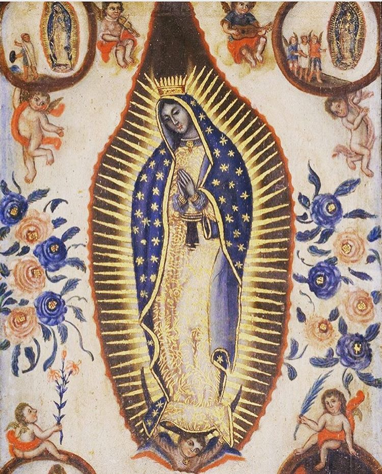 """""""Wouldn't this make the most amazing wallpaper in a sacred space?""""~Lisa #Repost @brooklynmuseum ・・・ #IsidroEscamilla painted this work of Virgin of Guadalupe shortly after the 1821 Act of Independence, which formalized the end of Spanish rule in New Spain. During the Wars of Independence (1810–1821), the Virgin was adopted as a nationalist symbol of Mexican liberation, supporting the idea that independence was divinely ordained. Years later, in the U.S., she became integral to the cultural identity of Mexican-Americans, as well as to the Chicano movement which begun in the 1960s. Guadalupe has continued to serve as a symbol for communicating social, cultural, and political issues as evidenced in the work of contemporary Chicana artists who have re-contextualized the image of the Virgin, and utilized her as a symbol of community and resistance through a feminist lens. #hispanicheritagemonth (at Brooklyn Museum)"""