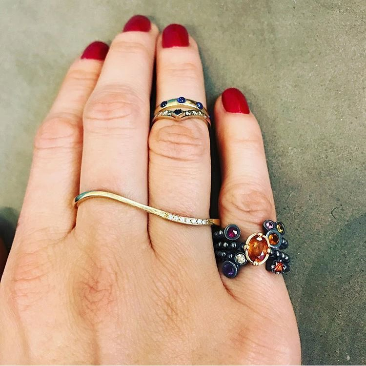 Now this is a #fridayfeeling! So sexy! #Repost from @serracharltonandlola playing with rings. Some gorgeous @delphinejewelry bands in the mix. #jewelrycommunity #newyorkcity (at The Yard : Space to Work)