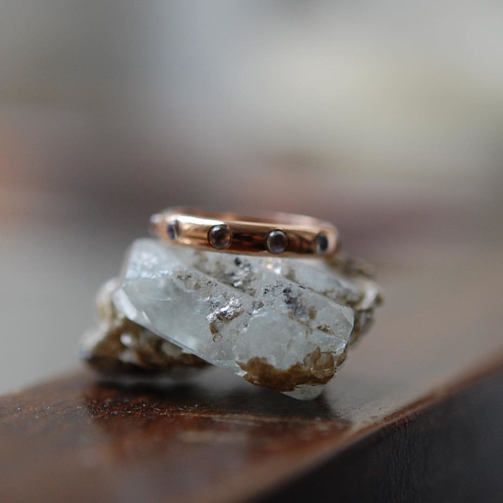 A Ring For Dreamers. Our Celeste. Everyday Elegance. Rose Gold with Moonstone Cabochon Beads. It's All in The Feeling. #charltonandlola #moonstone #rosegold (at New York, New York)