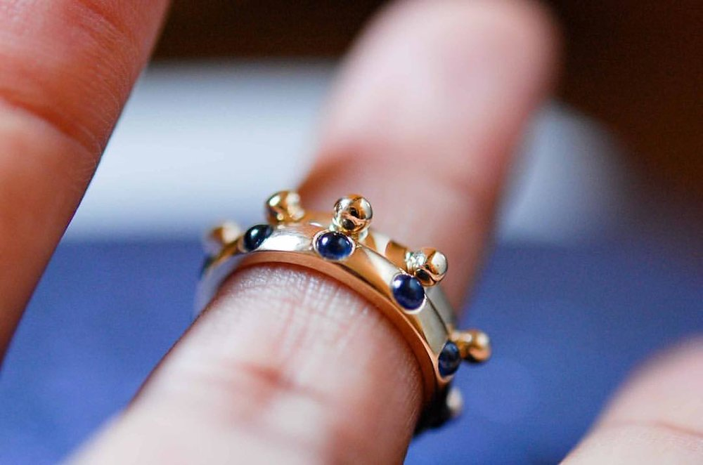 S is for September. S is for Sapphires. S is for soulful. Our Japa rings, on the website, just in time for the holiday weekend! #fridayfeeling #stacksarethenewblack #charltonandlola (at New York, New York)