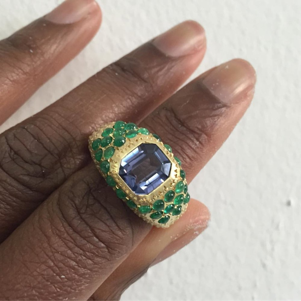 Still a Favorite. Isis. Spinel with Emerald Cabs. ✨👌🏾✨ (at New York, New York)
