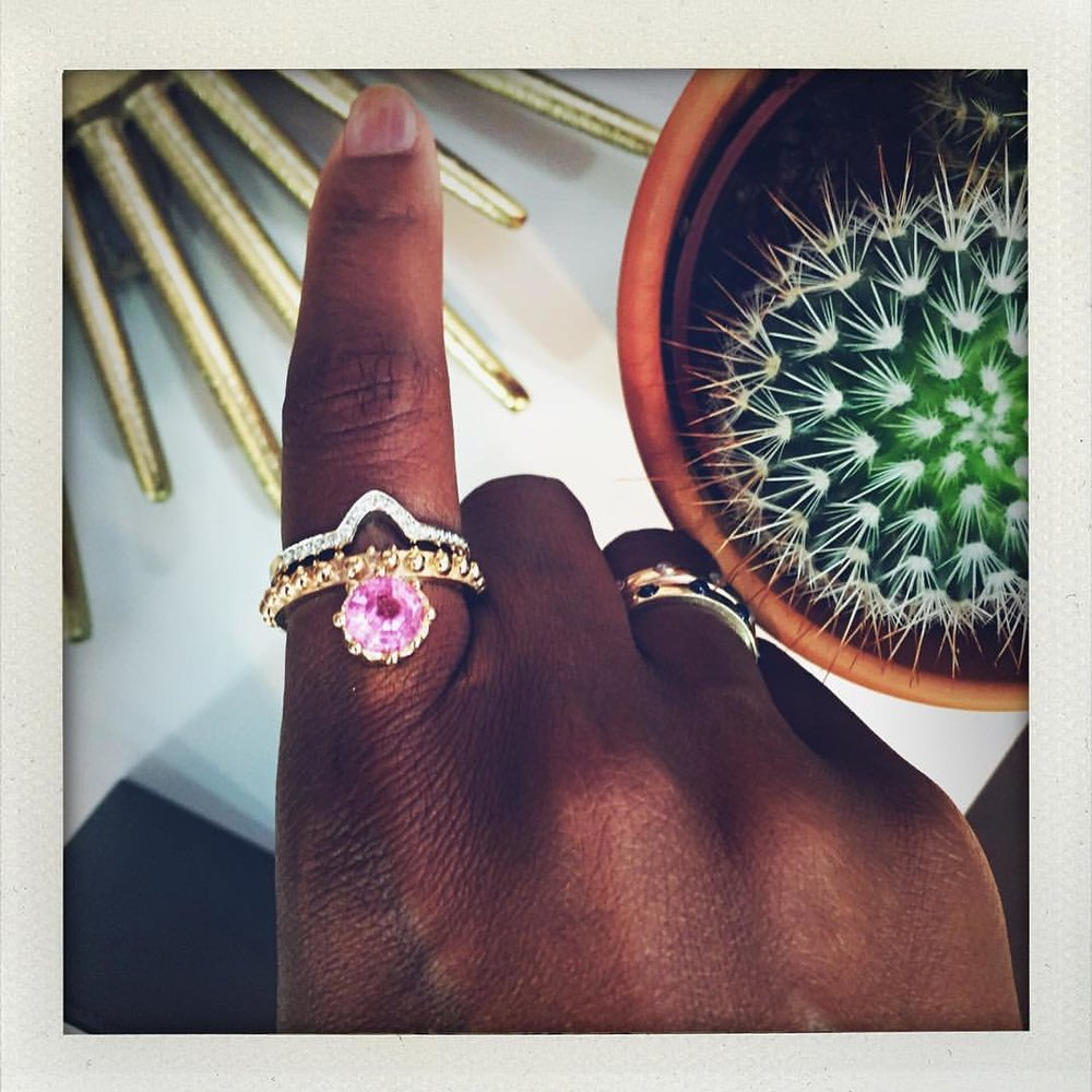 Sunday @ny_now with @delphinejewelry. How hot is this tourmaline ring? And I had the pleasure of finally meeting @lorrainedepasque!