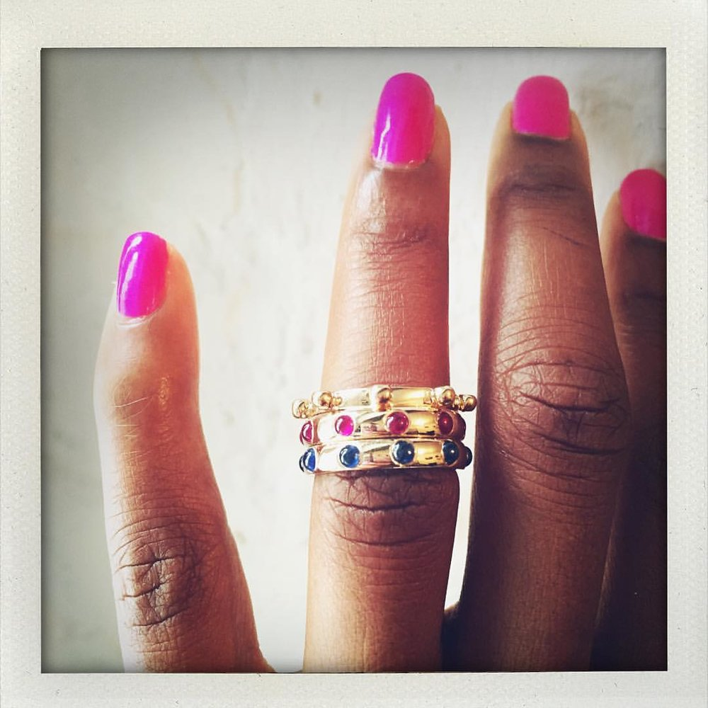 All that Japa Goodness. On the website. Link above. 👆🏿#charltonandlola #japarings #stacksarethenewblack #goodvibesonly #stackingrings #skittles #candyland #spiritjunkie #lovegoldlive #nailstagram #nailsonfleek (at New York, New York)
