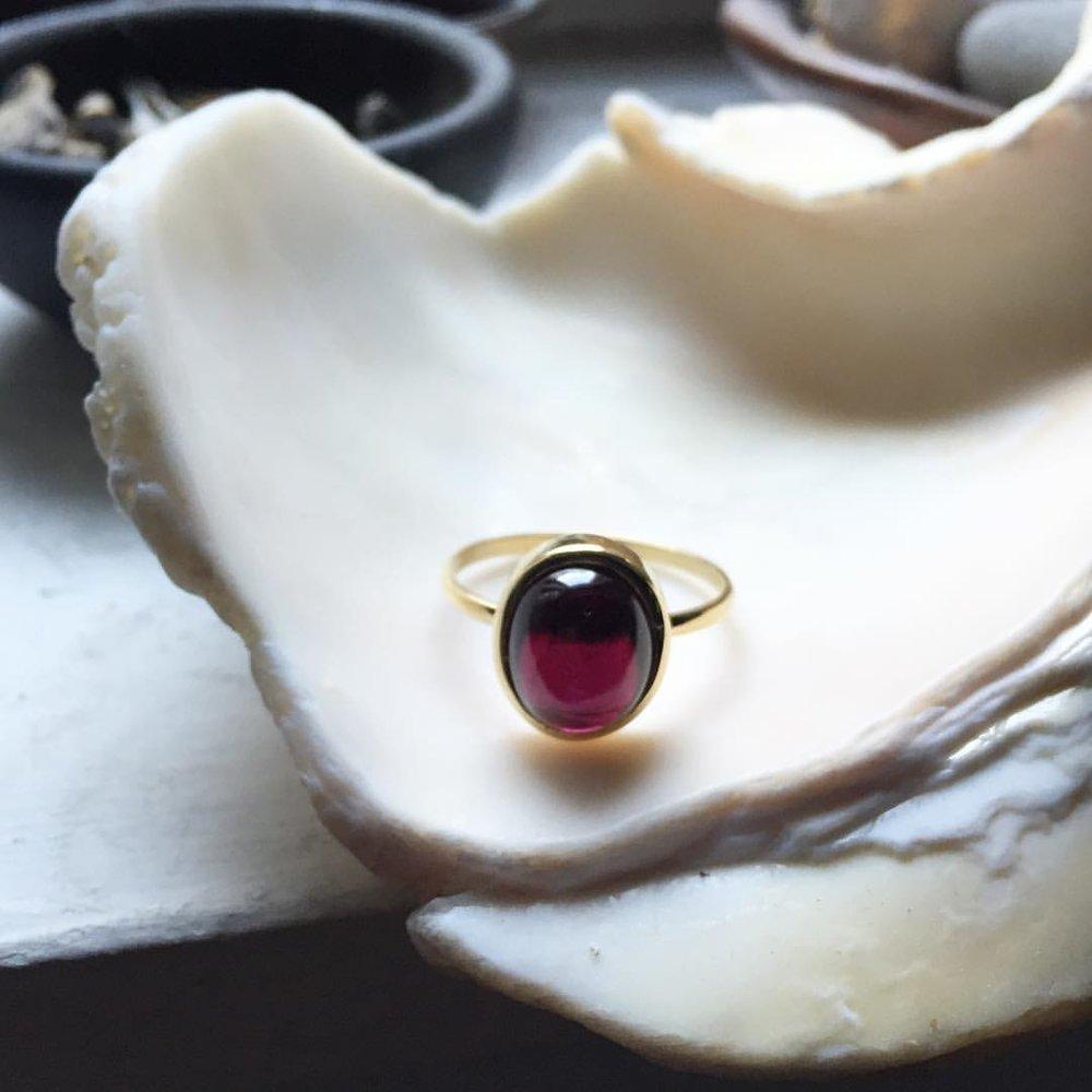 Asha in the Morning. Our Gold and Garnet Ring. On the website. #charltonandlola (at New York, New York)