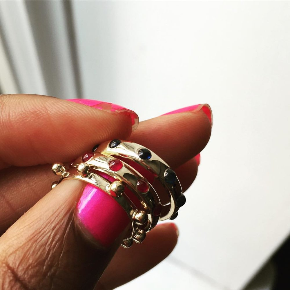 Someone's getting lucky! And all the way in Australia. Our sapphire and ruby gemstone Japas and a classic Japa. Whoop. Magic Carpet Rides! ✨✨✨ #charltonandlola #cljaparings #jewelryaddiction #jewelrylover #lovegoldlive #stackingrings #positivevibesonly #australia #goodvibesonly #summerstyle #magiccarpet #weekendvibes (at New York, New York)