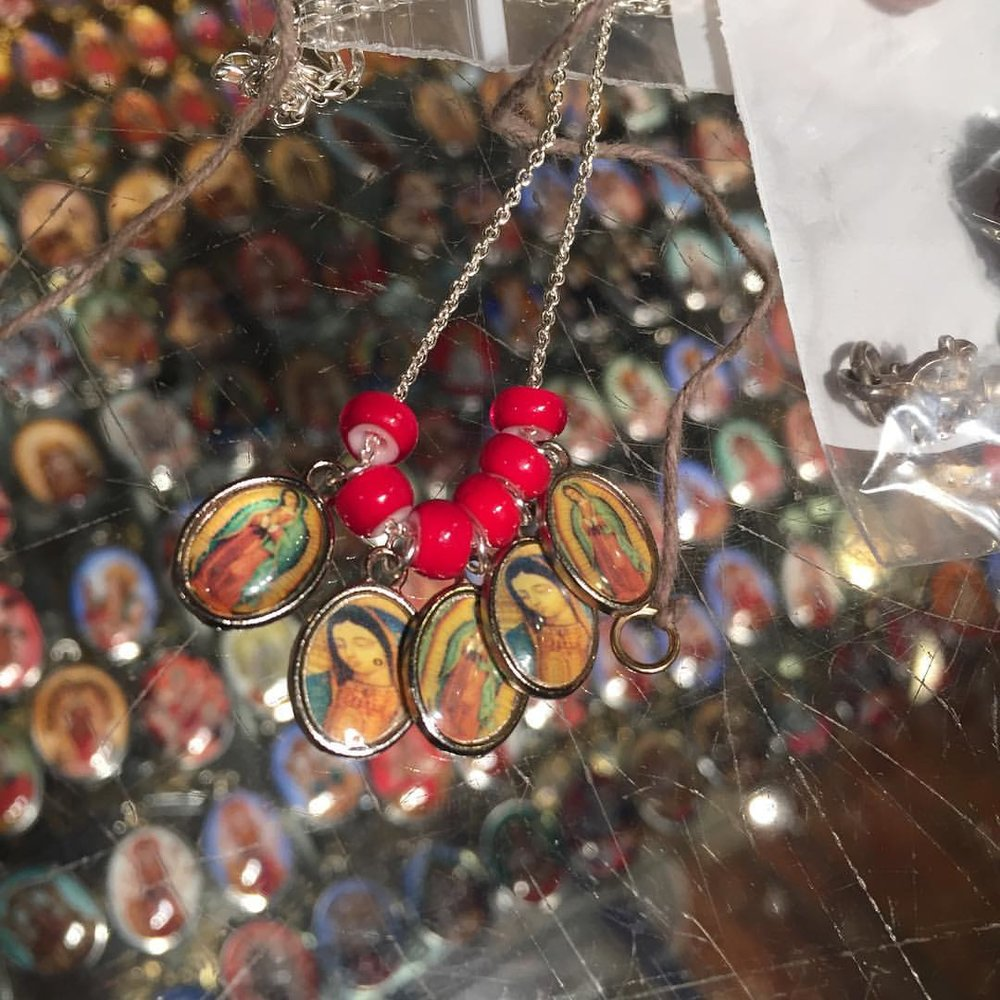 """While Ashley untangled my life I made an """"Expect a Miracle"""" Mary necklace. Always a party @beadsofparadisenyc. I actually learnt jewelry making here. Always a homecoming. Such a blessing. @suzystimelesstreasures again, how many saints does it take to make a saint? #charltonandlola #fridayfeeling #fridayvibes #saints #miracles #mothermary #mystic #goodwitch #spiritjunkie #yay #newyorkcity (at New York, New York)"""