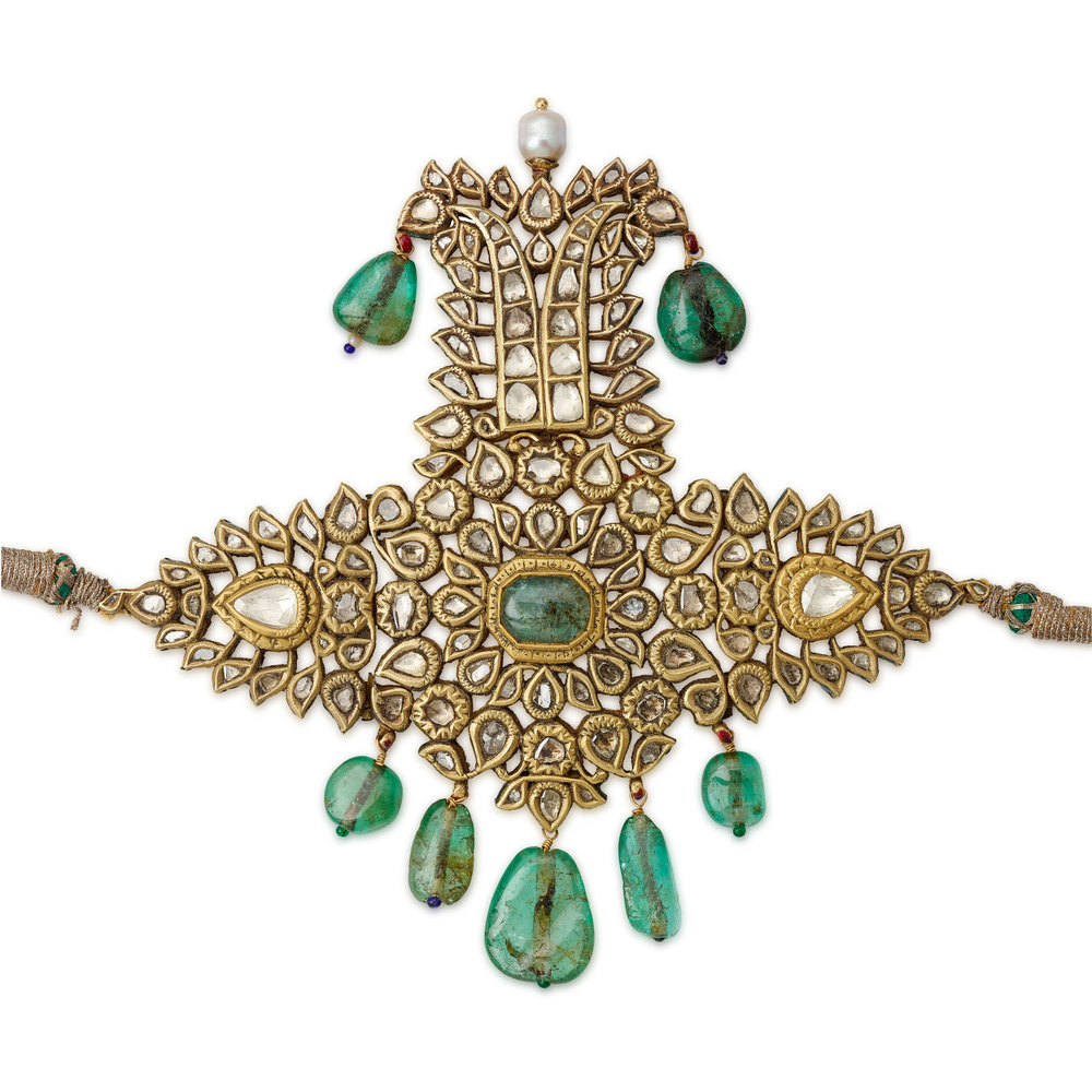 arjuna-vallabha: Diamond and emerald sarpech (turban ornament) Flawless.