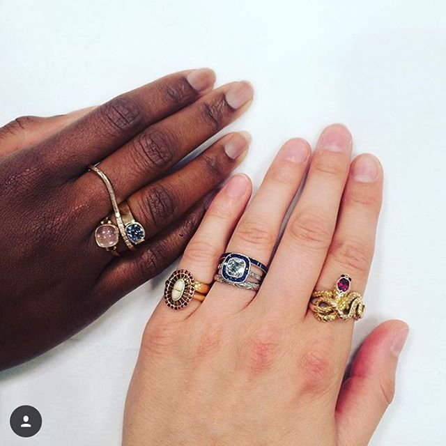 There was just so much gemstone goodness! Could post for days! So happy to have met @gemstonegypsy. Immediately after we met I learnt that she had lived in Ghana and Sierra Leone. What a babe! My kinda babe! 😍 #Repost @gemstonegypsy ・・・ Had an awesome time walking @ja_newyork this weekend with Lisa and Serra of @charltonandlola 👯 I'm wearing all #antique and Lisa is wearing her own line (👆🏻 for tags) 👐🏻💎👐🏻 #jewelryfriendsarethebestfriends #showmeyourrings #jewelryaddict #jewelrylover #jewelrygram #jewelryblogger #jewelryjunkie (at New York, New York)