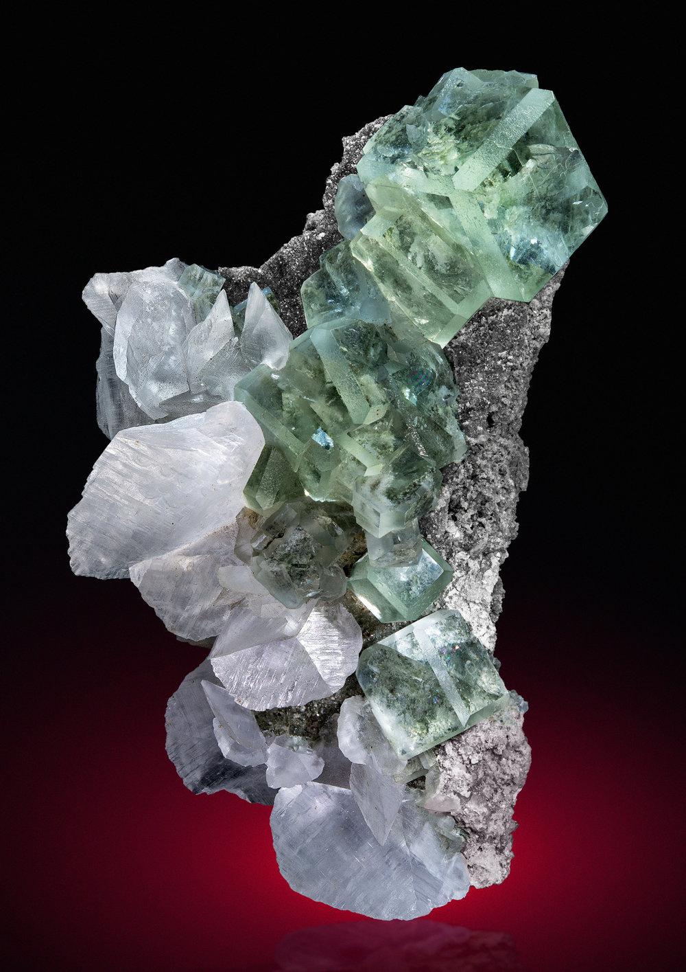 bijoux-et-mineraux: Fluorite with Calcite - Chenzhou Prefecture, Hunan, China