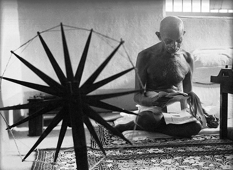 """life: 70 years ago this week in the July 15, 1946 feature - LIFE REPORTS - """"Gandhi spins for an hour every afternoon. At 76, the Mahatma is in good physical condition. He weighs 110 pounds, but he is not so frail as he looks. (Margaret Bourke-White—The LIFE Picture Collection/Getty Images) #LIFElegends #1940s #Gandhi Wise Men. Come Back."""