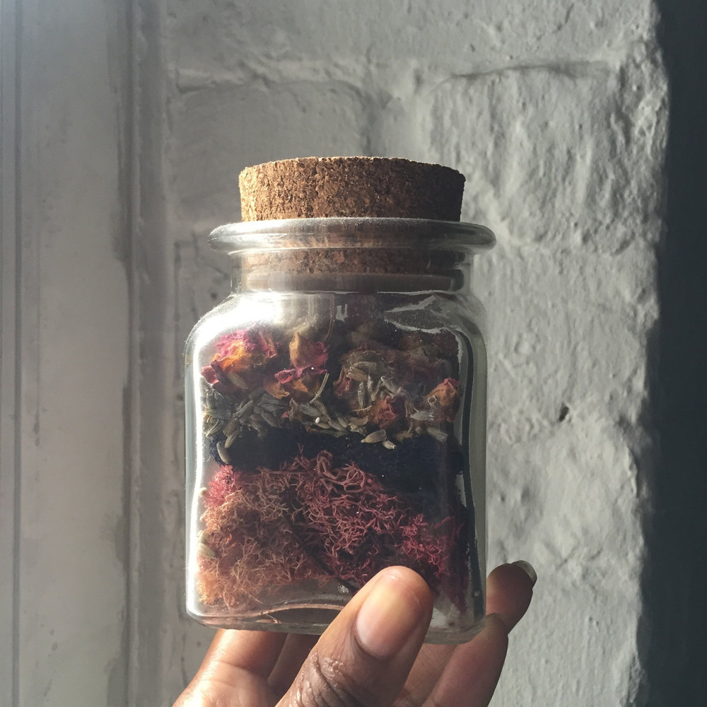 """Cordelia came closer and spoke to me. She said bottle my essence-dried roses, moss, fragrant lavender & some desert roses. A drop of oakmoss. It was the closest I could get to her."" ~Lisa www.nomayaa.com"
