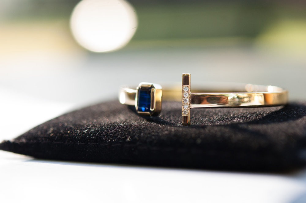 A Kyanite & Diamond 18k Gold Cuff Bracelet. Learn About Our Custom Design Process here.