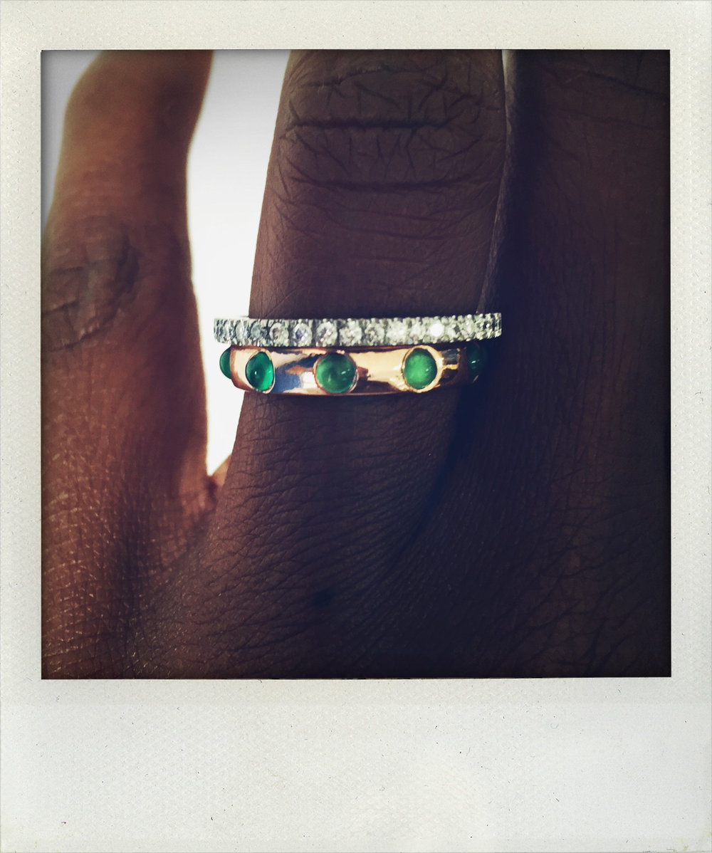 Beauty. Our Green Onyx Japa Ring and our Diamond Band. Know CHARLTON & LOLA. http://bit.ly/1SozSec