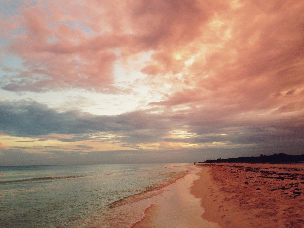 raysofthesun: Playa del Carmem, Mexico~ Pink Skies.