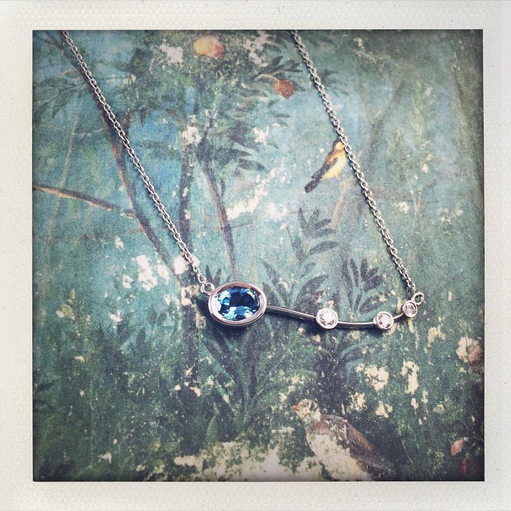 November is for Topaz. Custom Topaz, Diamond and Platinum necklace. #charltonandlola #topaz #gemstones #diamonds (at New York, New York)