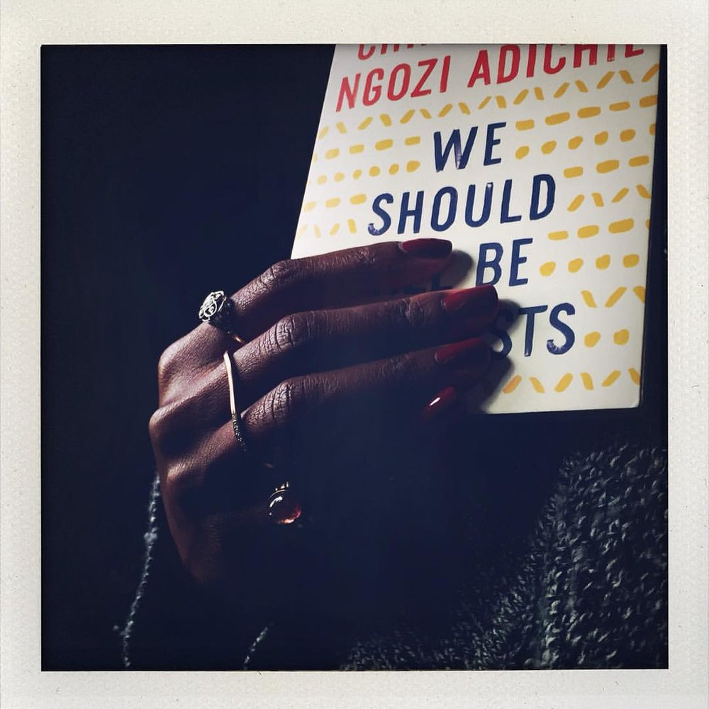 """Every once in awhile I have to pop this out and read it or watch the TED Talk: """"We Should All Be Feminists"""". It should be mandatory reading for all young girls and boys. #chimamandangoziadichie #goodreads #goodbooks #wisewords #charltonandlola #showmeyourrings #happysunday (at New York, New York)"""