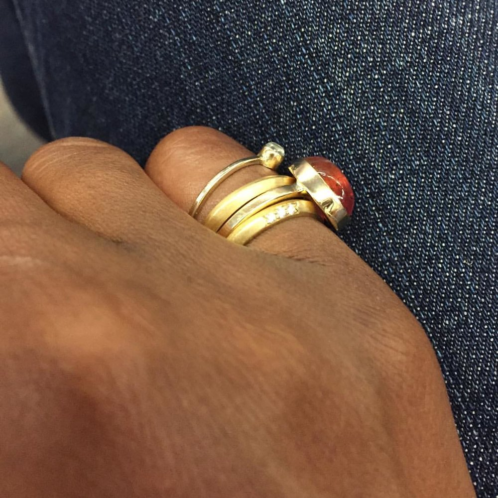 Happy Wednesday! On the E. #nyclife #madeinnyc #showmeyourrings #tourmaline #moonstone #diamonds #lovegold