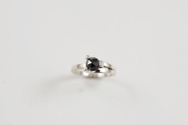 Rose cut Black Diamond & Platinum Ring