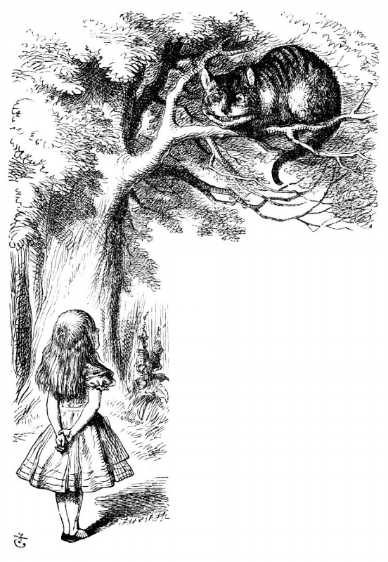 Alice in Wonderland & Cheshire Cat, Sir John Tenniel from the 1865 edition