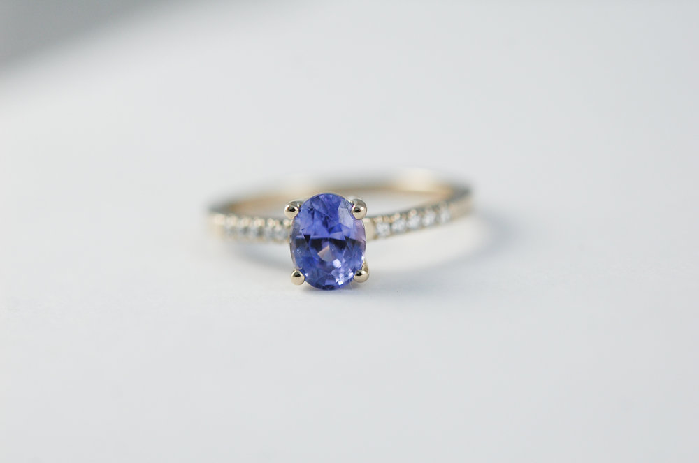 CHARLTON & LOLA Purple Sapphire Engagement Ring