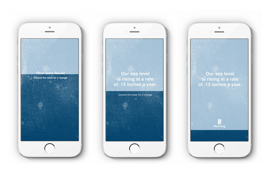 The power to change headlinesis demonstrated with an interactive mobile ad.