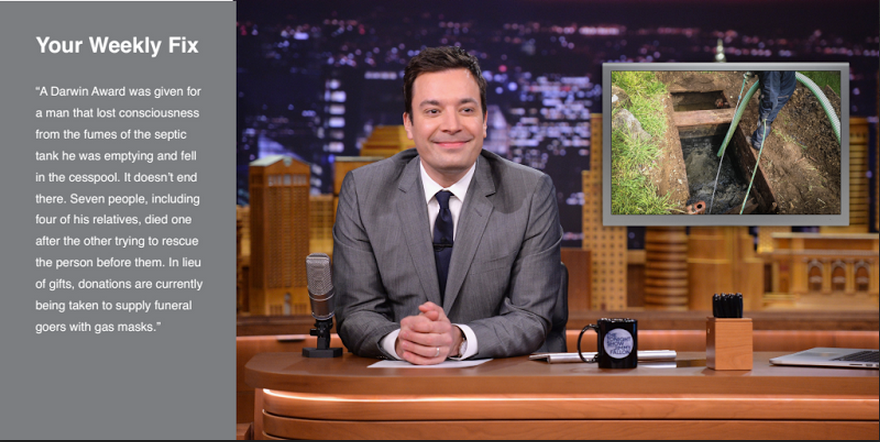 Jimmy Fallon features news stories along with humorous ways the audience can help.