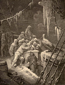 "Engraving by Gustave Doré for an 1876 edition of the poem. ""The Albatross,"" depicts 17 sailors facing an albatross on the deck of a wooden ship. Icicles hang from the rigging."