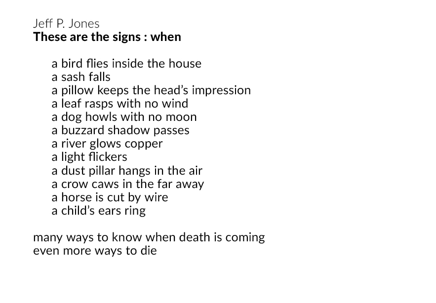 """Jeff P. Jones """"These are the signs : when"""" from  Love Give Us One Death"""