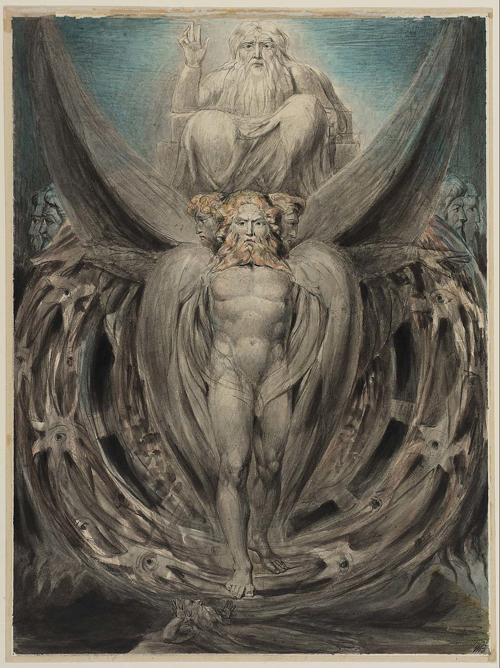 "William Blake, ""The Whirlwind: Ezekiel's Vision of the Cherubim and Eyed Wheels"" (Illustration to the Old Testament, Ezekiel 14-28), c. 1803-05."
