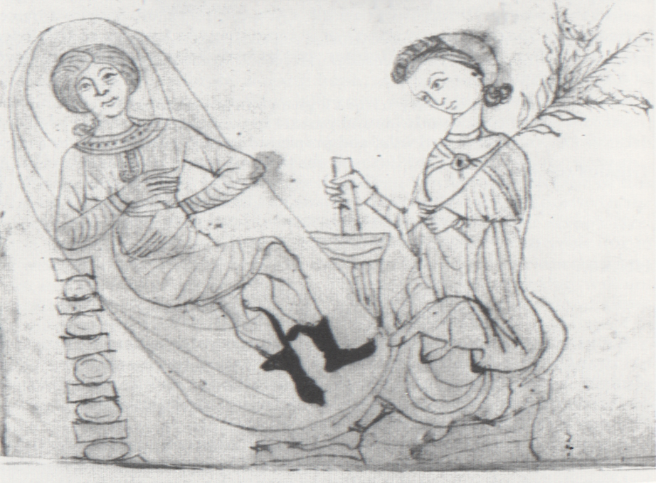 Pregnant woman receiving botanical abortifacient. Pseudo-Apuleius,  Herbarium , 13th-century.