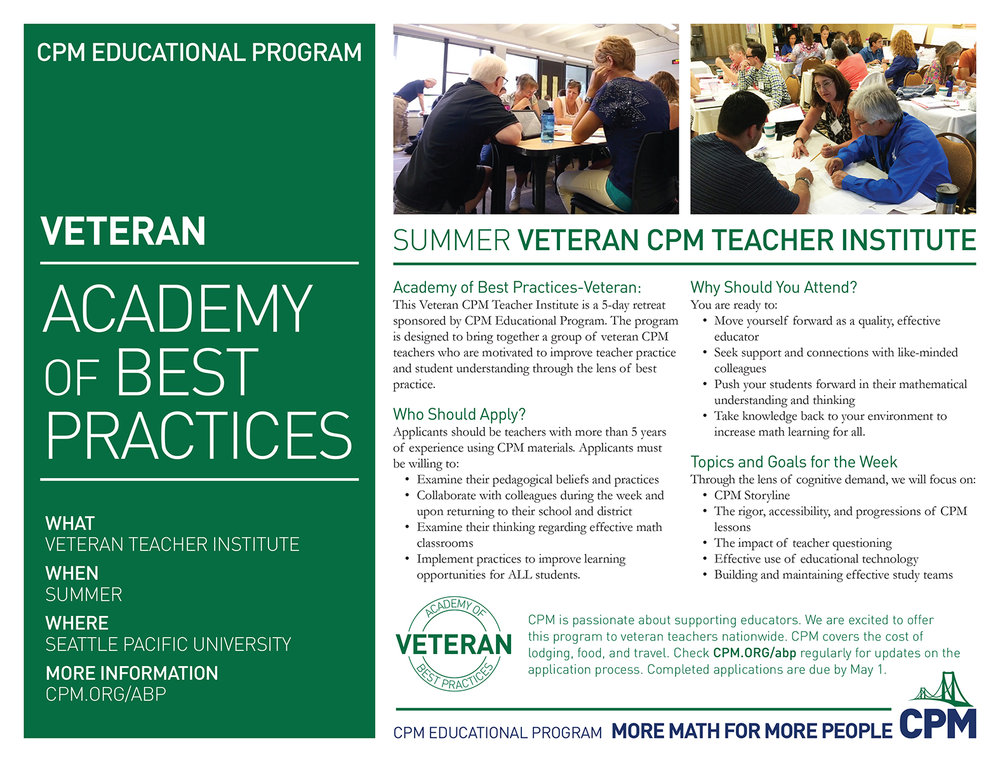Academy of Best Practices Veteran Teacher Institute Flyer