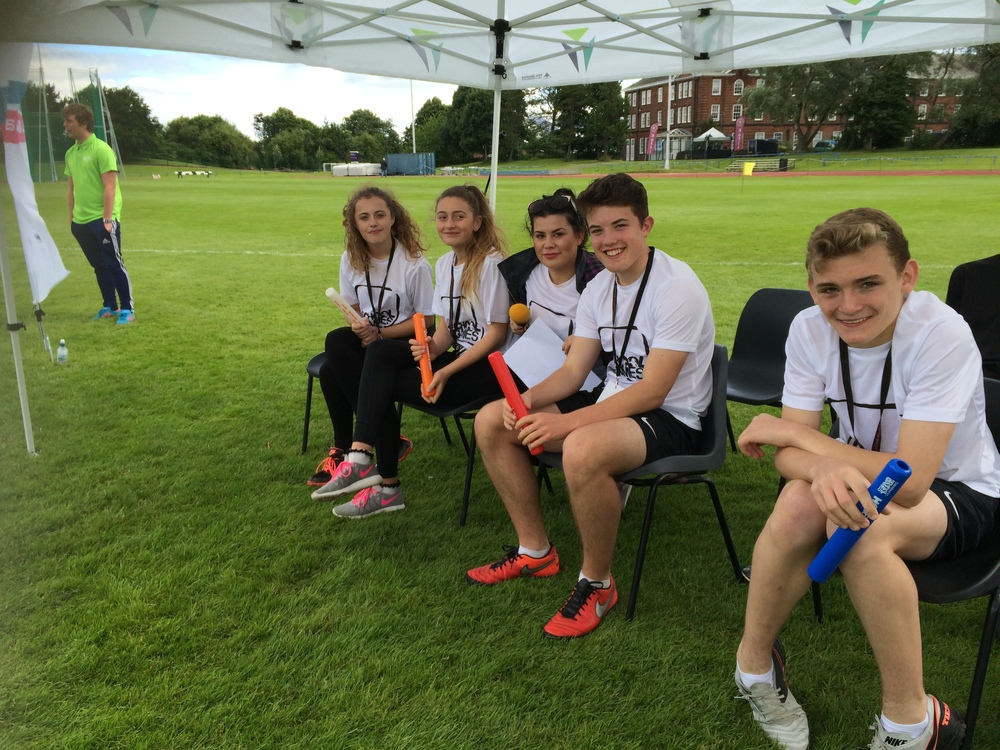 Y9 / 10 Sports Academy Leaders from St Mary's HS supported the athletics.  Students completed the UK Athletics Officiating Course in May 16 and delivered the shot put, javelin and high jump.  They received fantastic praise from the athletics officials!  Ex St Mary's student and WY Sports Council Member Megan Casey presented the opening of the Games!