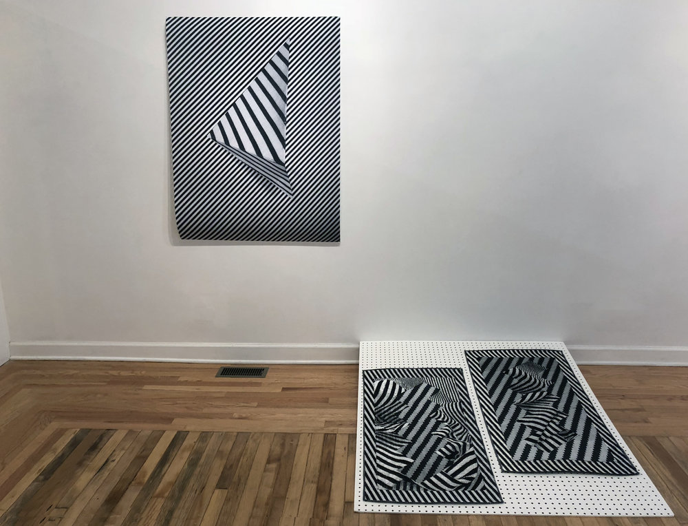 "Left:  Untitled, (triangle twills)  2018, digital print on archival paper, 36"" x 48""  Right:  Net Values 1 , 2018,  Net Values 2 , 2018, 21"" x 42"", Cotton, paper, nylon, handwoven on TC-2 Loom"