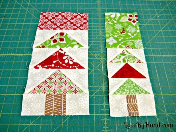 flying geese christmas tree block