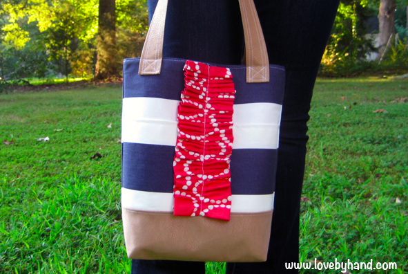 Striped ruffled tote bag tutorial