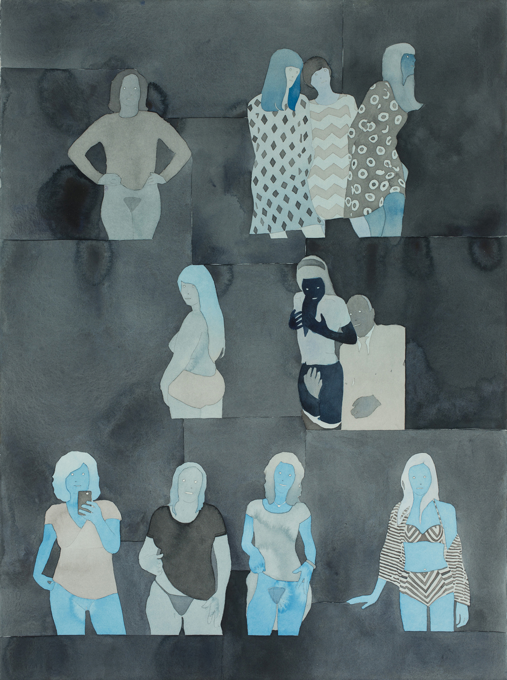 "Visitors   2014   Watercolor and acrylic   on paper 30"" x 22"""