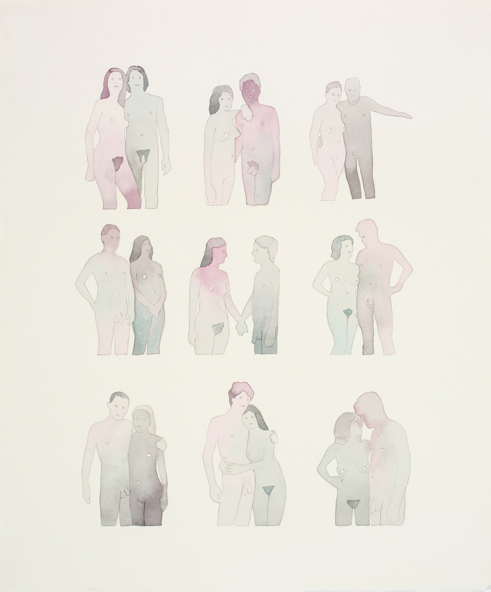 "Nine Nudist Couples   2011   Watercolor and acrylic   on paper 18"" x 15"""