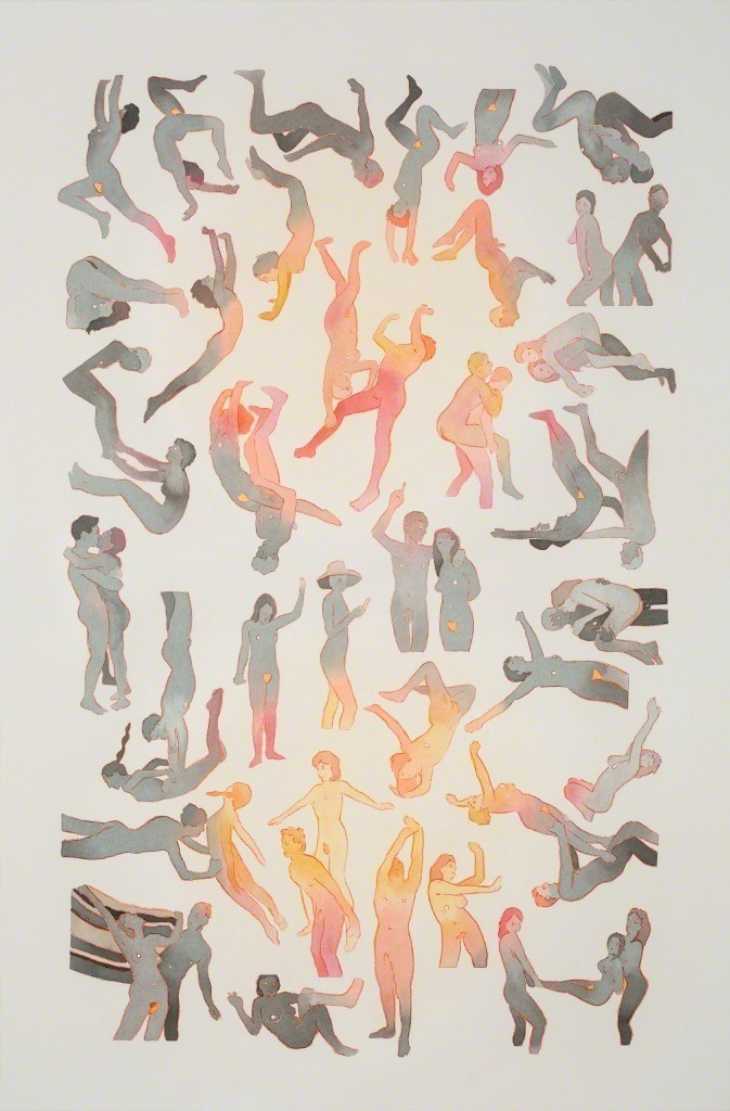 Our Dance, 2016   Acrylic, colored pencil and watercolor on paper   36 × 24 in   91.4 × 61 cm